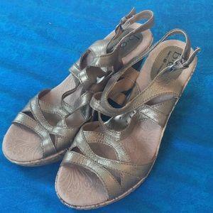 BOC Gold Wedge Sandals Size 7